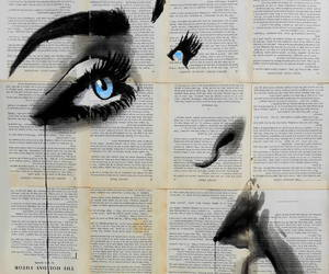 art, black, and news paper image