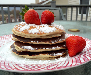 breakfast, fruit, and pancakes image