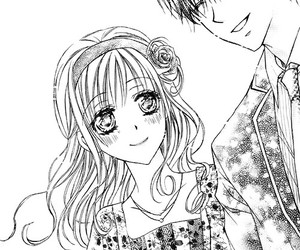 black and white, couple, and shoujo image