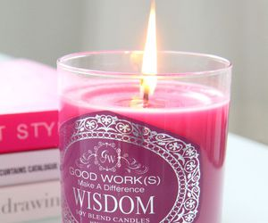 candle, pink, and book image