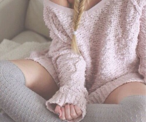 blonde, winter, and braid image