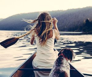 dog, girl, and travel image