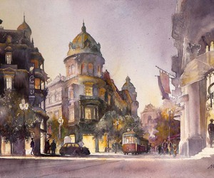 architecture, watercolor, and art image