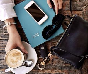 coffee, iphone, and bag image