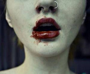 blood, lips, and piercing image