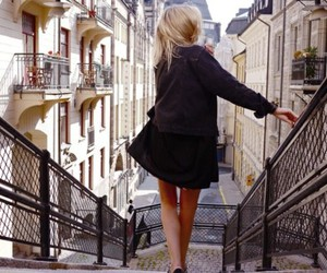 girl, blonde, and street image