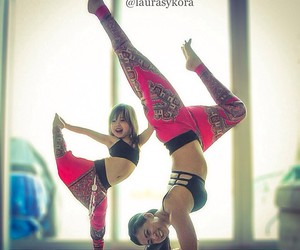 yoga, mother, and daughter image
