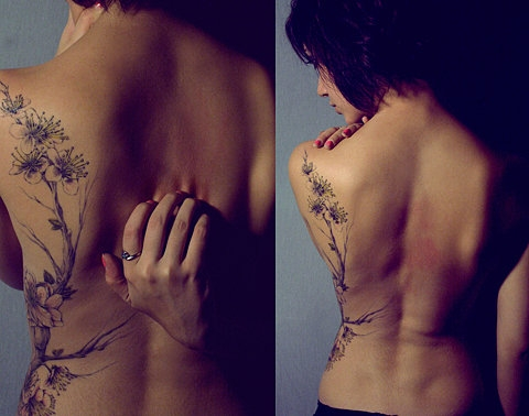 back, body art, and cherry blossom image