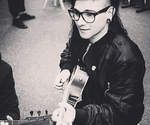 black and white, guitars, and skrillex image