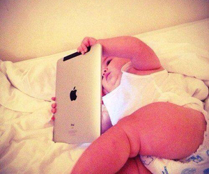 baby, so cute, and ipad image