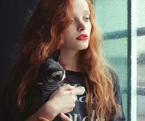 beautiful girl, black, and cat image