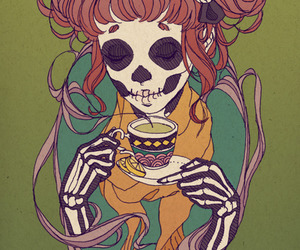 tea, skull, and art image