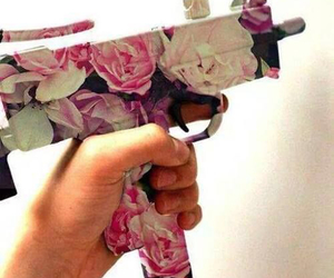 flowers, gun, and pink image
