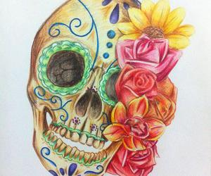 flower, skull, and art image
