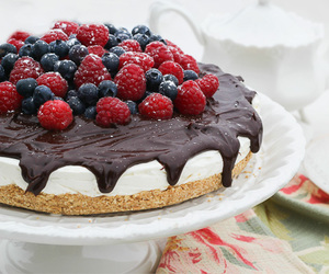 cake, blueberry, and chocolate image