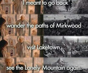 the hobbit, lonely mountain, and laketown image