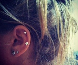 piercing, earrings, and stars image
