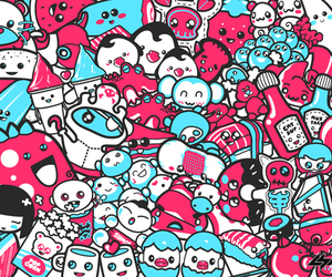 cute, blue, and pink image