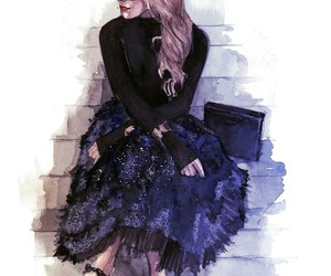blonde, fashion blogger, and watercolor image