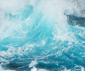 sea, blue, and waves image