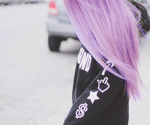 hair, purple, and sweater image