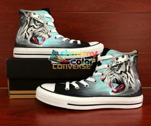 hand painted shoes, shoes black, and tiger design image