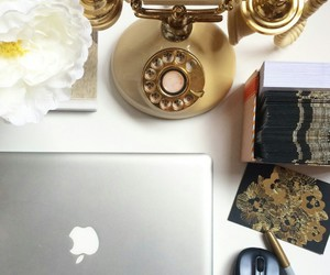 white flowers, mac computer, and old fashion phone image