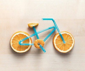 orange, bicycle, and art image