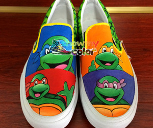custom shoes, hand painted sheos, and tmnt shoes image