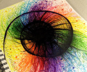 colours, drawing, and rainbow image