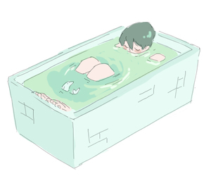 anime girl, bath tub, and bathing image