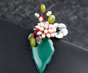 flower brooch, leaf brooch, and fruit brooch image