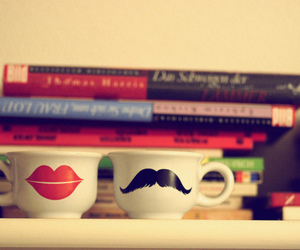 cup, lips, and book image