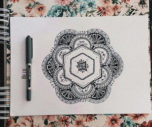doodle, drawing, and flowers image