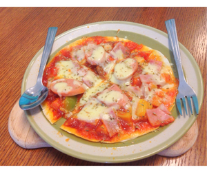 cheese, ham, and pizza image