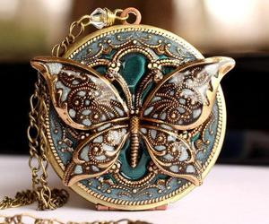 butterfly, locket, and necklace image