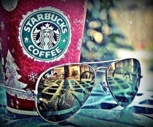 starbucks, coffee, and sunglasses image
