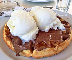 food, chocolate, and waffles image