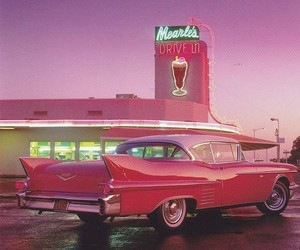 pink, car, and retro image