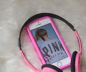 headphones, pink, and teen image