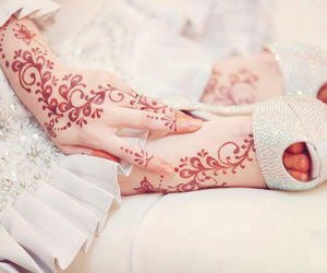 henna, white, and bride image
