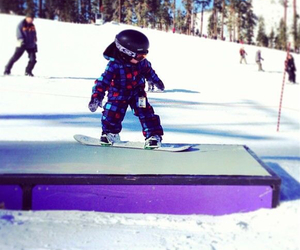 kids, snowboarding, and park image