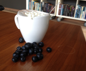 blueberries and hot chocolate image