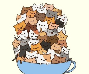 cat, kawaii, and cup image