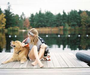 dog, girl, and lake image