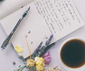 flowers, coffee, and writing image