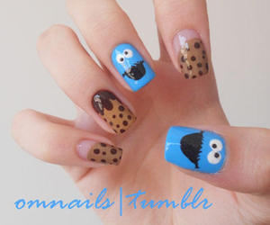 nails, cookie, and cookie monster image