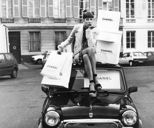 chanel, car, and black and white image