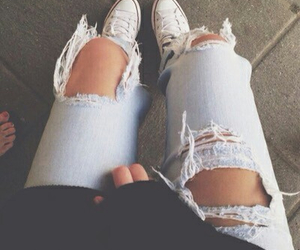 jeans, fashion, and converse image