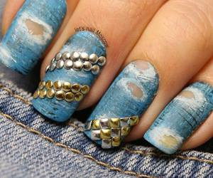 nails, jeans, and nail art image